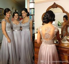 Wholesale Bridesmaid Dresses - Buy 2014 Sexy Cheap Chiffon Wedding Bridesmaid Dresses Long Fashion Embroidery Bead A Line With Sweetheart Short Sleeve Sheer Back Floor Length, $89.0 | DHgate