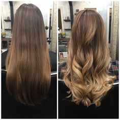 Blonde/brunette balayage | before and after