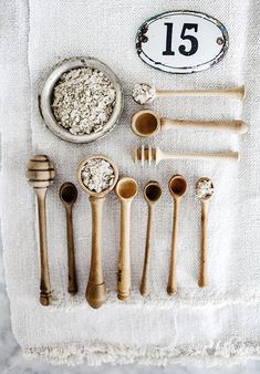 French wooden salt and mustard spoons & honey drizzlers