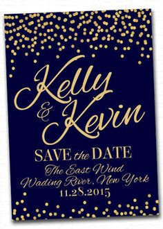 Navy/Gold Dotted Confetti Save the Dates  www.christimariecreative.com