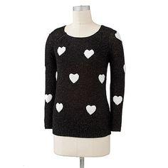 LC Lauren Conrad Lurex Heart Sweater