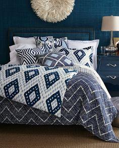 John Robshaw Pamir Bedding - Horchow Mark making inspiration for dogs bedding Navy Blue Bedrooms, Blue Rooms, Dream Bedroom, Home Bedroom, Bedroom Decor, Master Bedroom, White Bedding, Bedding Sets, Navy Blue Comforter Sets