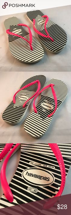 Black White Pink Striped Havaianas Flip Flops SLIM Black White Pink Striped Havaianas Flip Flops SLIM in size 41/42 which is a womens size that fits 9.5-11 womens. Havaianas Shoes Sandals