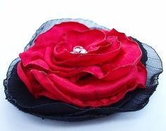SALE Flower Corsage Red Satin & Organza Flower by LunaDiArgento