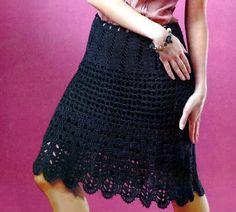 Knee length skirt, crochet skirt, PATTERN only, knee length crochet skirt, crochet skirt pattern, description in English.