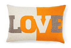 Love 16x24 Pillow, Ivory/Orange, Rani Arabella