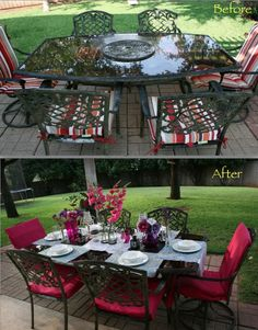 Transform your outdoor table for your next dinner party Outdoor Living Rooms, Outdoor Dining, Living Spaces, Backyard, Patio, Mediterranean Homes, The Great Outdoors, Tablescapes, Repurposed