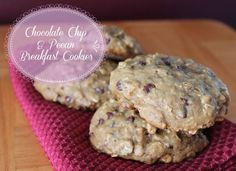 Chocolate chip and pecan breakfast cookie. Healthy delicious make-ahead and freeze breakfast recipe. 205 calories.