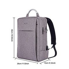 Amazon.com: Business Backpack for 15.6 Inch Laptop,GTI Slim Anti Theft Computer Bag, Water-resistent College School Backpack, Eco-friendly Travel Shoulder Bag with USB Charging Port - Gray: Computers & Accessories