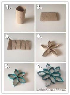 Adornos de Navidad con rollos de papel higiénico. #navidad #manualiades #reciclaje