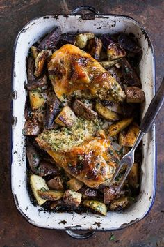 One-Pan Apricot Walnut and Brie Stuffed Chicken Breast with Roasted Potatoes, quick, simple and delicious, from halfbakedharvest.com