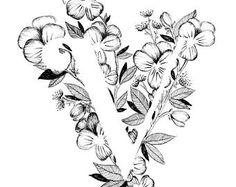 Lettre V impression - Alphabet, calligraphie, typographie, monogramme, fleurs - impression d'art à l'encre noir et blanc