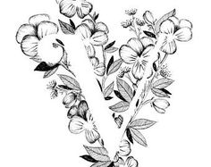 Letter V print - alfabet, kalligrafie, typografie, Monogram, bloemen - zwart-witte inkt kunst print