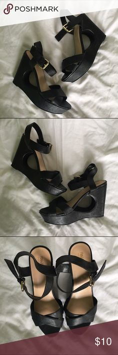 Cutout Wedge Sandals Wedge sandals with cutout. Faux leather, very comfortable, pre-loved. Little scuff on front toe area. Mossimo Supply Co Shoes Wedges