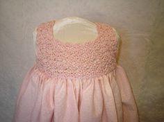 HAND CROCHET BODICE dress pale pink Loom Crochet, Crochet Yoke, Hand Crochet, Crochet Baby, Crochet Patterns, Little Girl Dresses, Flower Girl Dresses, Girls Dresses, Easter Dress