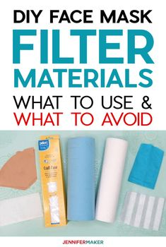 DIY Face Mask Filter Materials: What to Use, What to Avoid - Jennifer Maker Face Mask Filter Materials Safety: What to Use, What to Avoid - Common Household Materials that may be used as a filter, along with research into effectiveness and breathability Easy Face Masks, Homemade Face Masks, Diy Face Mask, Masque Facial Diy, Diy Masque, Facial Masks, Sewing Hacks, Sewing Projects, Sewing Tips