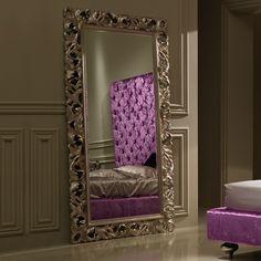 Large Luxury Italian Rococo Champagne Leaf Mirror
