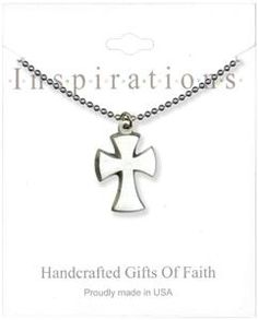 Silver Cross With Curved Sides Necklace
