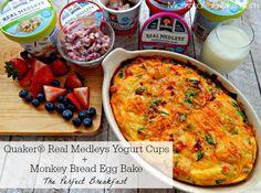 Quaker Real Medley's Yogurt Cups + Monkey Bread Egg Bake = The Perfect Breakfast ~ #QuakerRealMedleys #Ad #CollectiveBias #Recipe