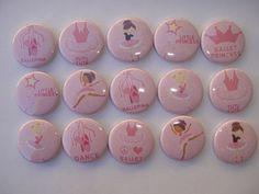 Ballerina flat back / pin back buttons dancer tutu slippers hair bow  | bowsandbling2 - Accessories on ArtFire