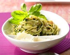 Spaghettis au pesto d'amandes (facile, rapide) - Une recette CuisineAZ