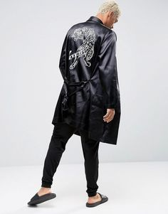 Browse online for the newest ASOS Satin Robe With Tiger Embroidery styles. Shop easier with ASOS' multiple payments and return options (Ts&Cs apply). Satin Dressing Gown, Mens Sleepwear, Lounge Wear, Hoods, Fashion Online, Latest Trends, Normcore, Style Inspiration, Embroidery