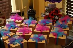 Mad Hatter Bridal  Shower...guest favors.  Inside was a tea cup, saucer, biscotti and tea bags with a thank you note.