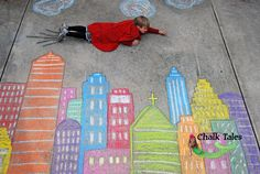 Colorful and joyful Children's photography with chalk, let your child lives the experience with this amazing and breath taking chalk photography, for more fabulous pictures