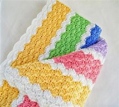 Crocheted Baby Afghan with Coordinated Receiving Blanket - Rainbow Stripes