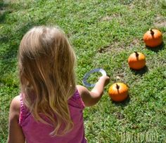 Pin for Later: 17 Festive (and Fabulous!) DIY Kids' Halloween Party Games Pumpkin Ring Toss Pumpkins of any size will do the trick. See more pumpkin ring toss ideas. Outdoor Halloween Parties, Halloween Games For Kids, Kids Party Games, Halloween Crafts, Kid Crafts, Autumn Activities, Activities For Kids, Harvest Activities, Carnival Activities
