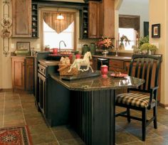 Perimeter Fieldstone Cabinetry Hanover Door Style In Rustic Alder Finished In Toffee Island