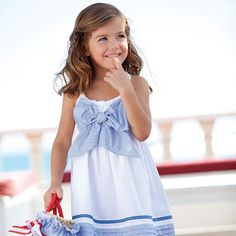 blue and white dress with bow Sewing Kids Clothes, Sewing For Kids, Baby Sewing, Little Girl Fashion, Fashion Kids, Little Girl Dresses, Girls Dresses, Kids Outfits, Cute Outfits