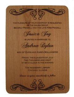 "Custom Wood Wedding Invitation - Standard Size 6.7x4.8"" Wedding Gifts | LazerDesigns.com"