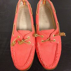 Salmon/Coral Sperry For JCrew Boat Shoes Limited edition shoes. Excellent condition only worn several times. Women's size 8 Sperry Top-Sider Shoes Flats & Loafers