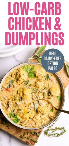 Low Carb Chicken and Dumplings is loaded with fresh herbs, vegetables, and a creamy broth! You'll love the buttery dumplings on top. Keto, Whole30, and Paleo options.