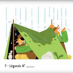 Selon le magazine Georges N° Camping: Entre 2 guerres (1918-1939):  c'est le début du scoutisme. On apprend aux jeunes à camper dans des conditions plus ou moins difficiles...  :-(  Illustration d'Elliot Kruszynski.