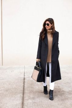 Mix a neutral, chunky turtleneck sweater with a classic black coat and white pants for a sophisticated—and warm—colorblocked look   theglitterguide.com