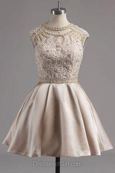 Satin Prom Dresses, Short Formal Dresses, Scoop Neck Evening Dresses, Coffee Homecoming Dresses, Aline Party Dresses
