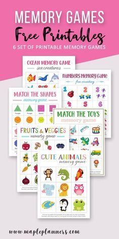 Fun Memory Games for Kids Free Printables