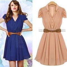 b2871177b7 New! Hot fashion purity one-piece dress - short-sleeve summer - slim  chiffon one-piece dress free shipping.  10.98