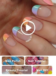 How to Get a Pastel Ombre Manicure 5 practical ways to apply nail polish without errors Es ist fast eine Nail Art Designs Videos, Nail Design Video, Simple Nail Art Videos, Manicure Colors, Manicure And Pedicure, Nail Colors, French Nails, Pastel Ombre, Ombre Nail
