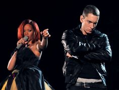 Rihanna and Eminem perform at the 53rd Annual GRAMMY Awards on Feb. 13 in Los Angeles