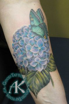 Alie K. by Alie K Tattoos, via Flickr. Love the detail on the blue hydrangea and the butterfly.