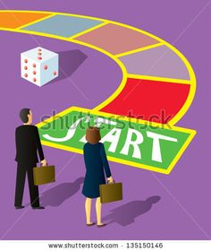 Two business people standing at the start square of a giant game board. - stock vector