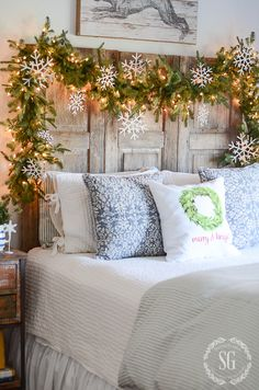 BHOME CHRISTMAS TOUR GUEST ROOMS-headboard with garland