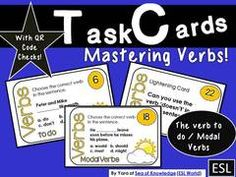 Honoring ESL Teachers! - This giveaway is particularly honoring ESL teachers! I am an ESL teacher and I know how tough it can be managing a classroom full of new comer ESL students. Here is a small giveaway to hopefully help you. :).  A GIVEAWAY promotion for Verb Task Cards to do / modal verbs 24 cards with questions   QR Code Check from SeaofKnowledge on TeachersNotebook.com (ends on 2-28-2015)