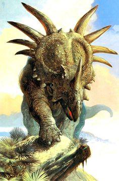 Styracosaurus by William Stout Prehistoric Wildlife, Prehistoric Dinosaurs, Prehistoric World, Jurassic World Dinosaurs, Prehistoric Creatures, Jurassic Park, Dinosaur Art, Dinosaur Fossils, Dinosaur Illustration