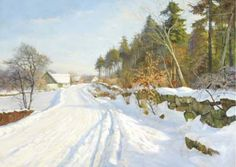 Harald Julius Niels Pryn (1891-1968): A snow covered road, Hösterköb, Denmark