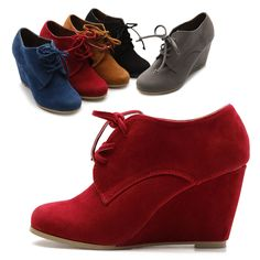 ollio Womens Shoes Faux Suede Wedge Heels Fashion Ankle Lace Ups Boots #ollio #FashionAnkle  (these in this red!)