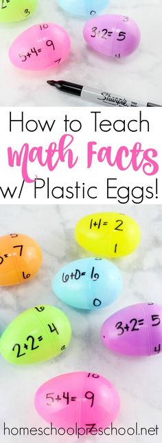 Come discover how to teach addition with plastic Easter eggs! This activity is perfect for your spring homeschool lessons. | homeschoolpreschool.net via @homeschlprek